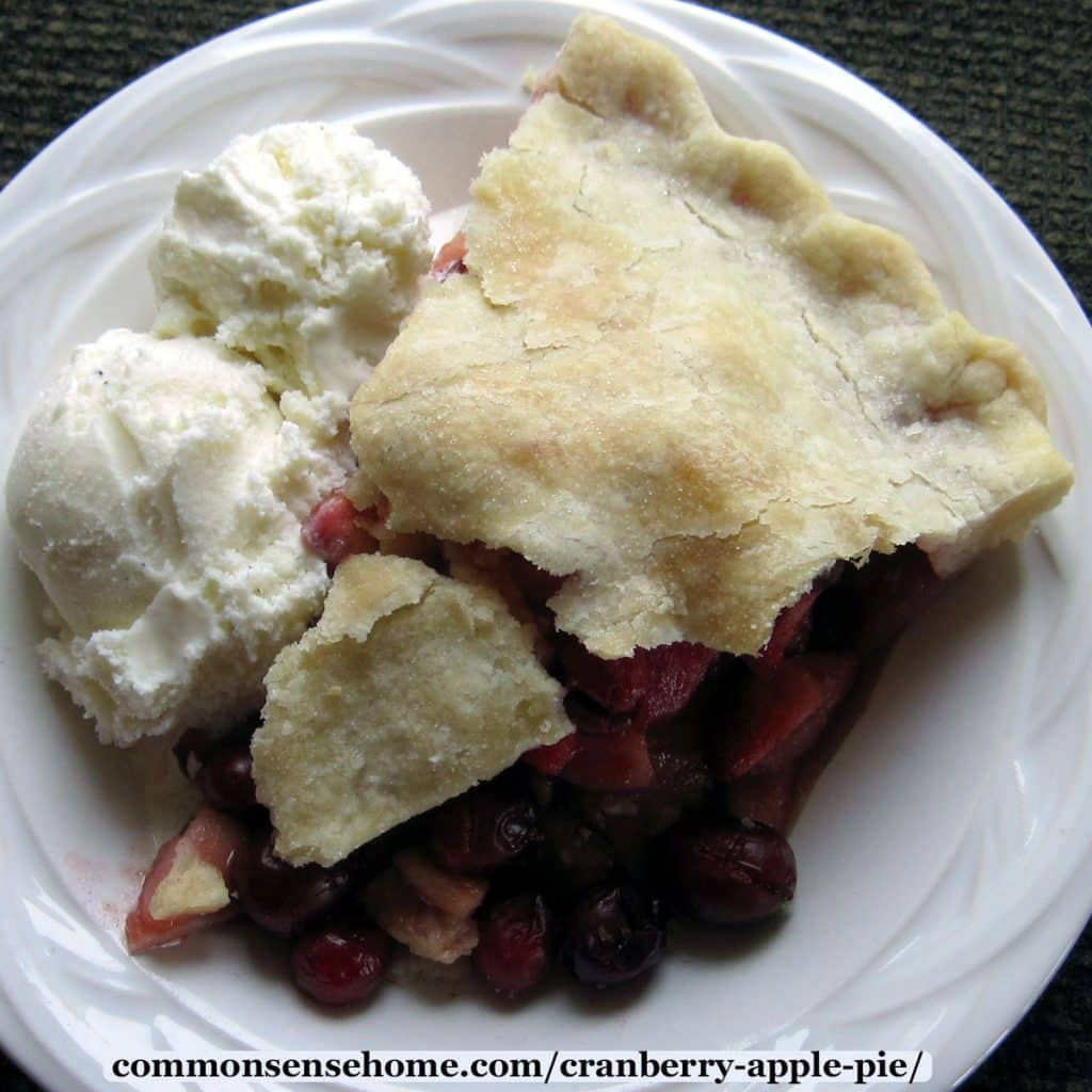 slice of cranberry apple pie with ice cream