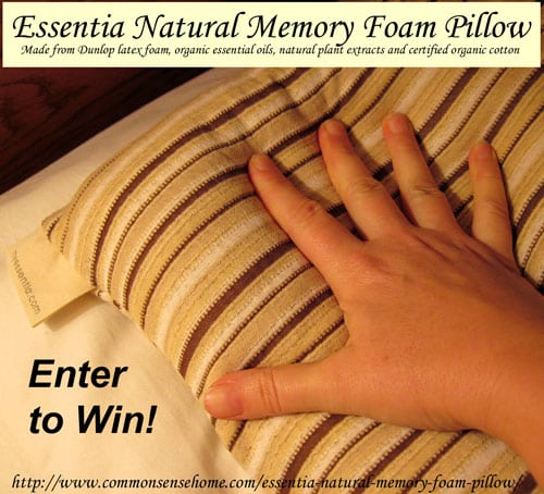 Essentia Natural Memory Foam Pillows As part of our Green Home series, today I'm sharing a review and giveaway of an Essentia Natural Memory Foam pillow - because it's very difficult to be healthy when your surrounded by things that make you sick.