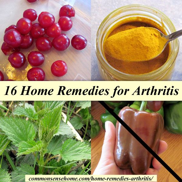 Collage of home remedies for arthritis