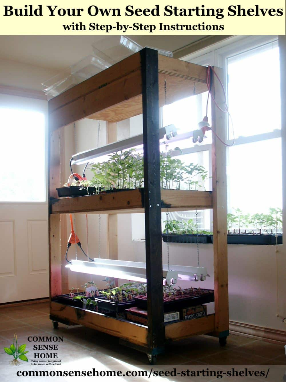 Seed starting shelves