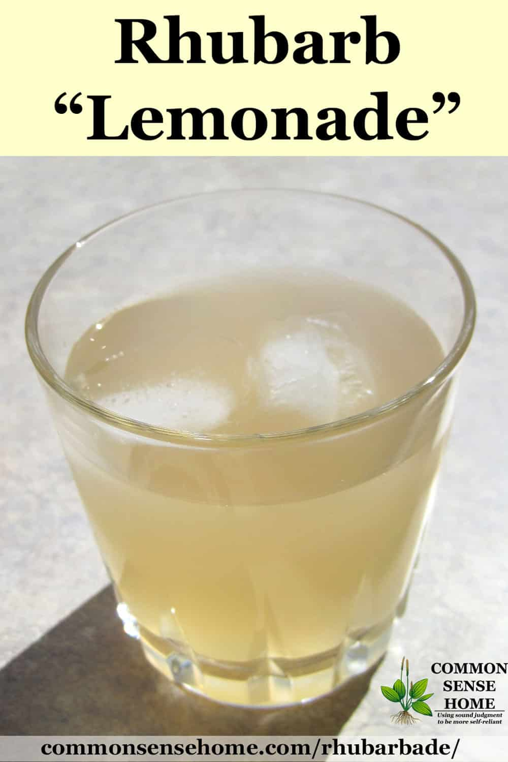 rhubarb lemonade drink in glass with ice