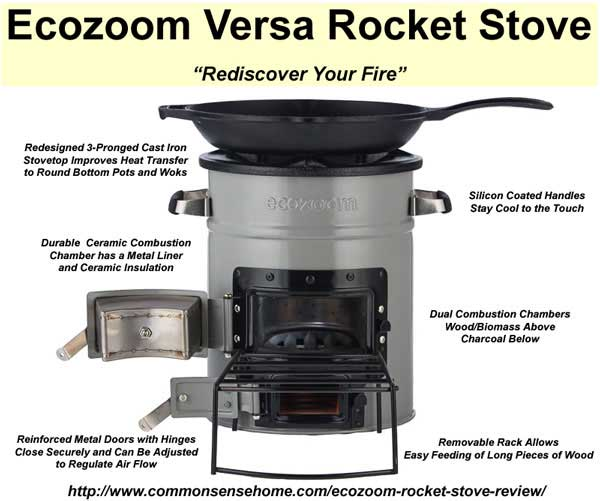 Ecozoom Rocket Stove, a sturdy multi-fuel stove that's small enough to keep on hand for emergencies or camping, durable enough be a primary cook stove.