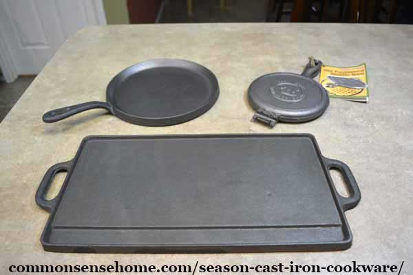 unseasoned cast iron waffle iron, large griddle and tortilla griddle