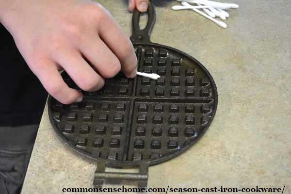 seasoning a cast iron waffle iron
