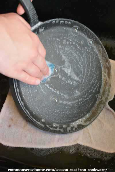 washing cast iron before seasoning