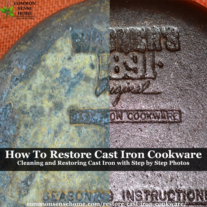 cast iron skillet before and after restoration
