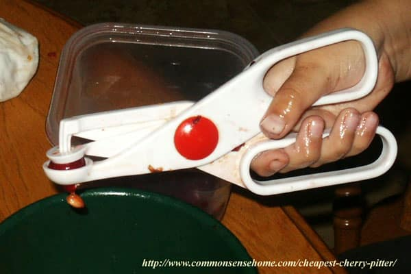 Scissor type cherry pitter