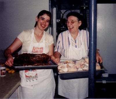 My mom and sister back at the catering business. I'm behind the camera.