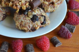chocolate raspberry granola cookies