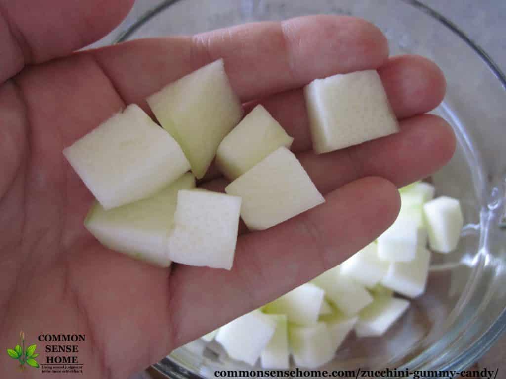 chopped zucchini in hand