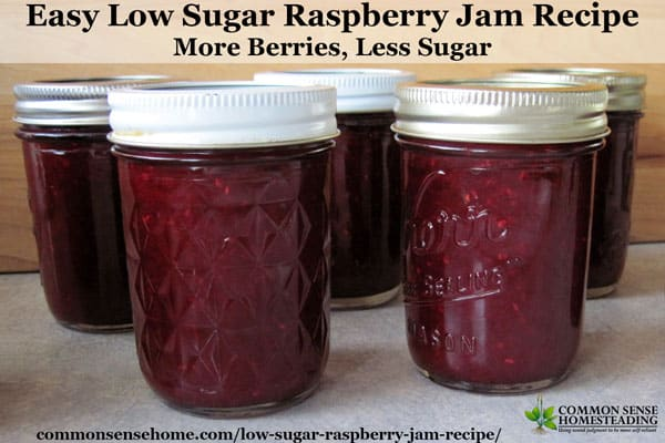 This easy low sugar raspberry jam recipe is bursting with raspberry flavor. It uses less sugar and can be made with fresh or frozen raspberries.