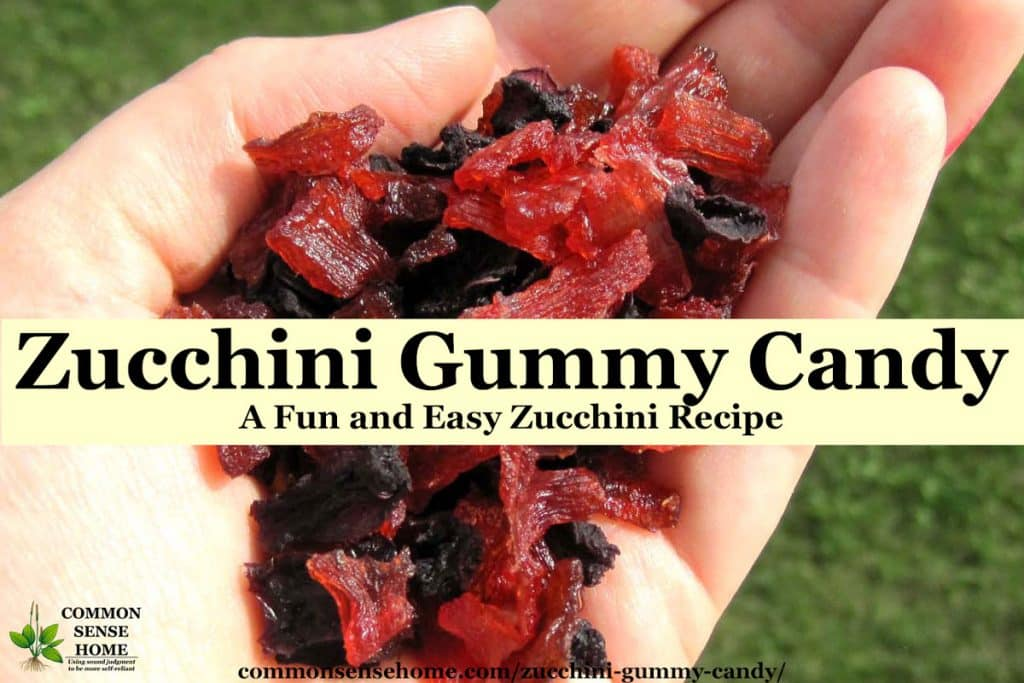 handful of red and purple homemade gummy candy made with zucchini