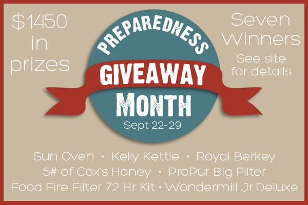 Preparedness Month Mega Giveaway - 7 Winners, $1450 in Prizes - The perfect way to either begin your preparedness journey or add to your preps.