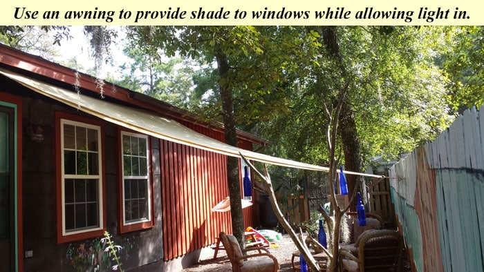 Awning for shade to keep home cool