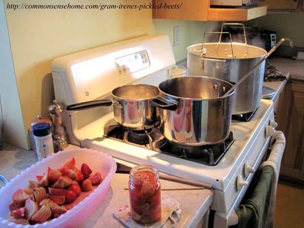 Canning setup for making pickled beets