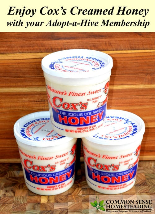 Cox's Creamed Honey stays stable in storage and is part of your adopt-a-hive package.