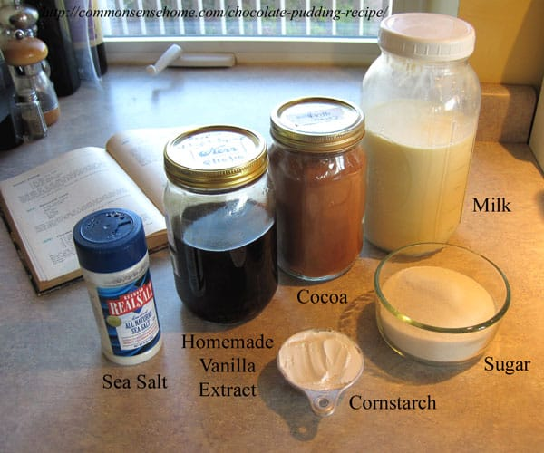 Homemade chocolate pudding ingredients