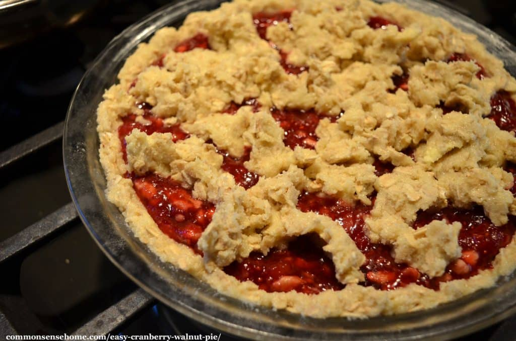 cranberry walnut pie before baking