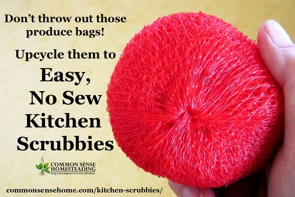 Don't toss those mesh produce bags! Upcycle the bags into free, easy to make, no sew kitchen scrubbies in a few simple steps.
