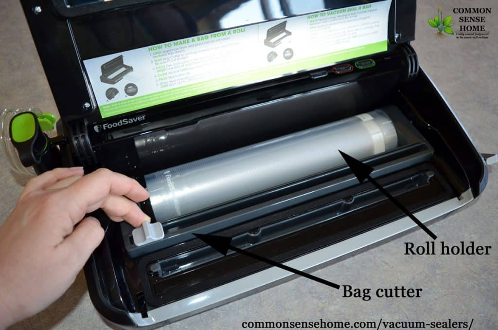 bag roll storage and cutter in FoodSaver vacuum sealer