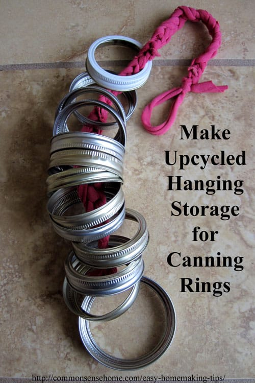 Hanging canning ring storage