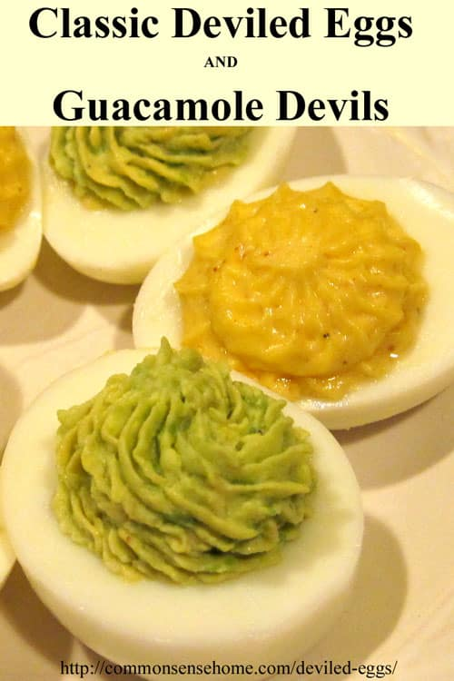 Classic deviled eggs and guacamole devils classic deviled eggs and guacamole devils deviled eggs made with avocado turn your hard forumfinder Gallery