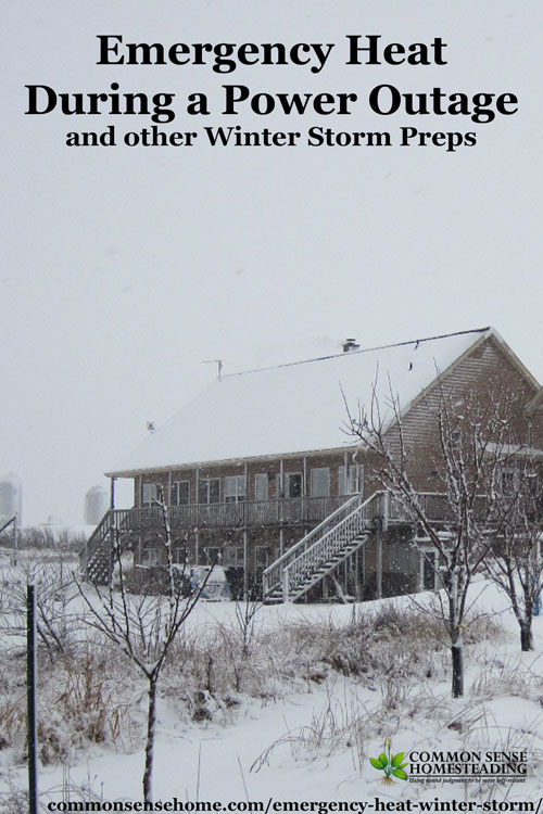 Winter Storm Preparedness - Emergency Heat During a Power Outage - Conserving heat, dressing for warmth, food and water needs, hygiene issues.