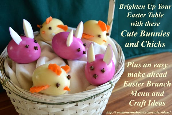 Easter Ideas - Easter bunnies and chicks made from peeled hard boiled eggs.