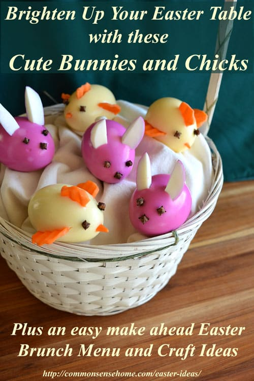 These cute little Easter bunnies and chicks are decorated AFTER the eggs are peeled to make them super easy to serve and eat. No messy eggshells at the table!