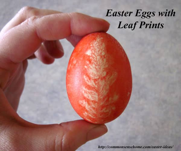Easter Egg Decorated with Leaf Print
