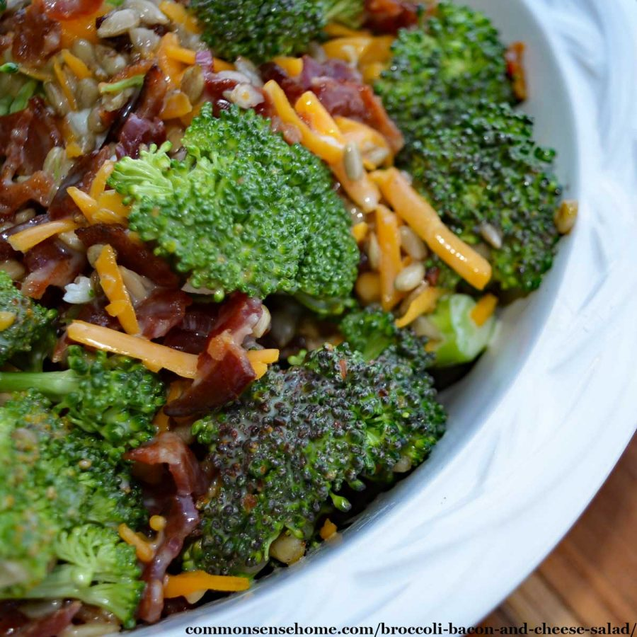broccoli bacon and cheese salad in white bowl