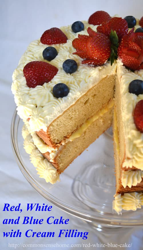 This festive red, white and blue cake is decorated with fresh berries and whipped cream and filled with rich custard for an old fashioned family treat.