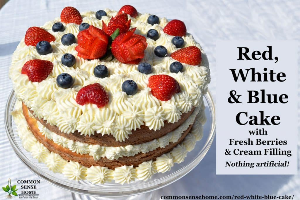 Red, White and Blue Fourth of July Cake with Fresh Berries and Cream Filling on pedestal