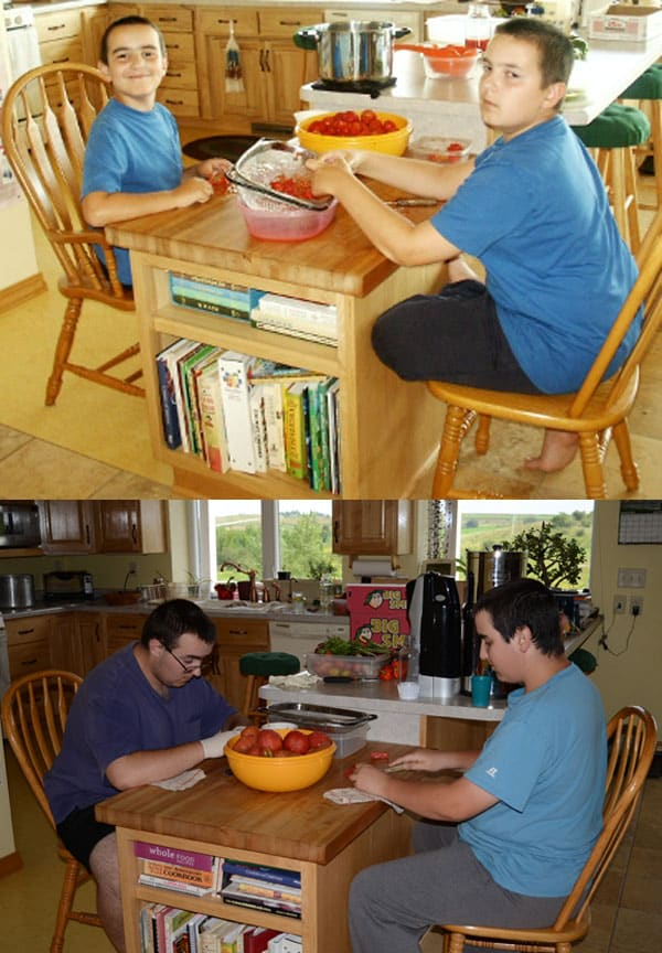 boys chopping tomatoes for homemade salsa