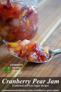 cranberry pear jam in spoon