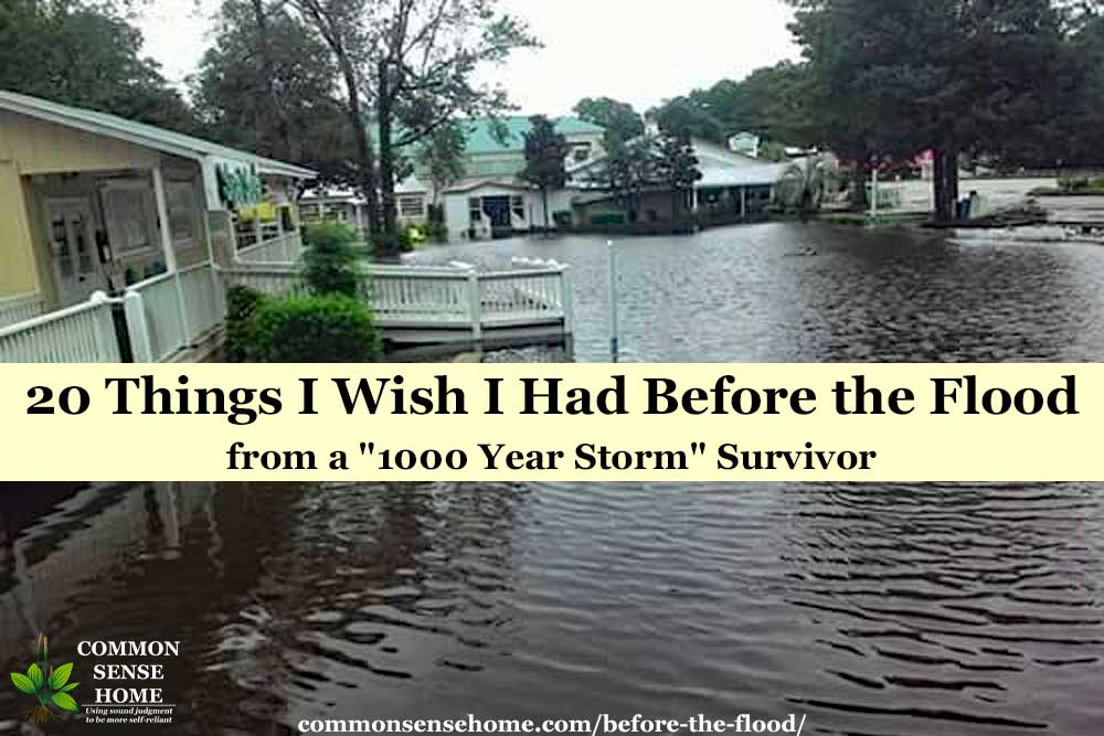 "flooded homes and street with text overlay ""20 things i wish I had before the flood"""