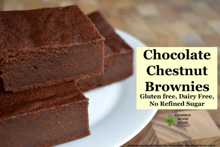 chocolate chestnut brownies on white plate