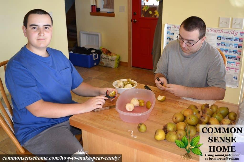 peeling pears