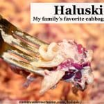 fork full of haluski with red cabbage