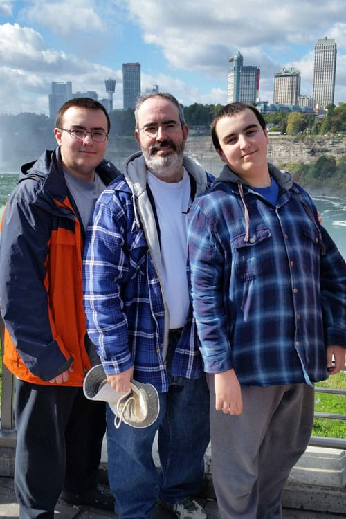 August and the boys at Niagara Falls
