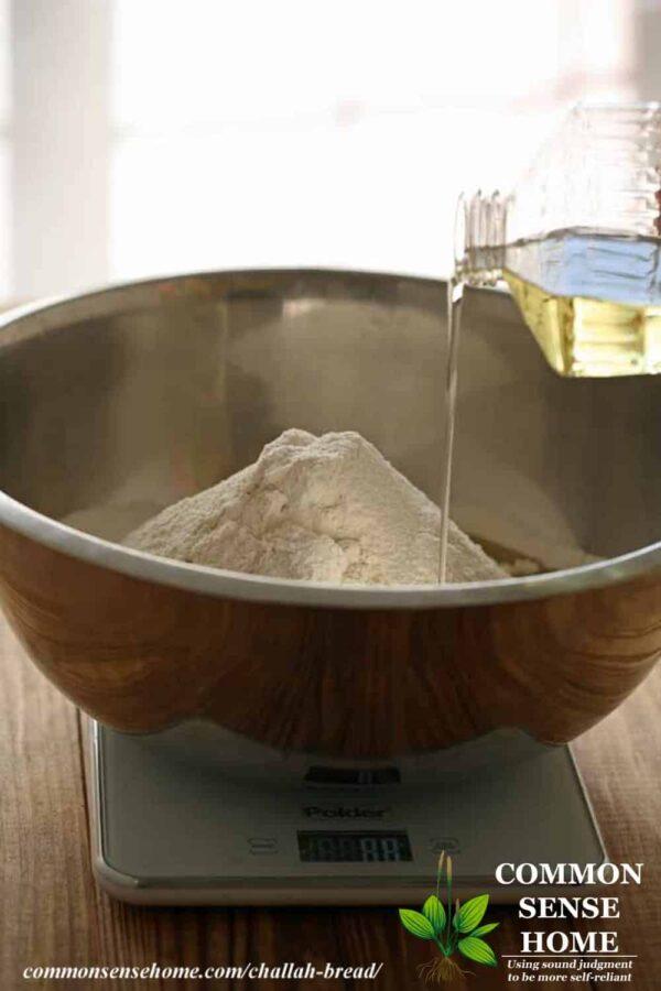 measuring challah ingredients