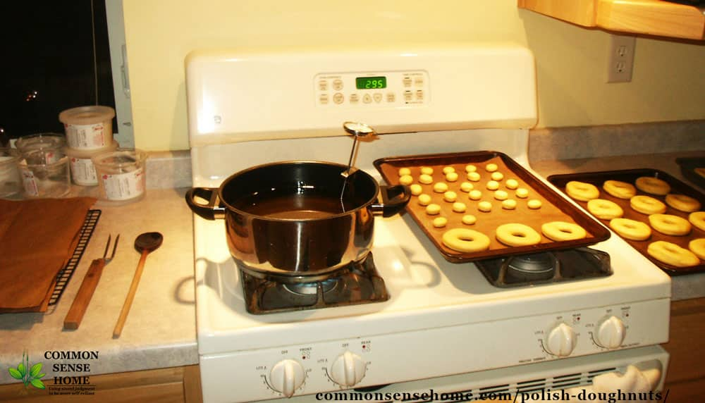 Stove set up to fry homemade doughnuts