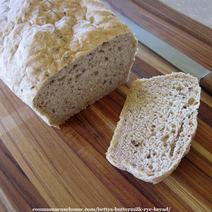 rye bread on cutting board