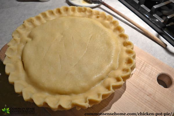 Homemade chicken pot pie, ready to go into the oven.