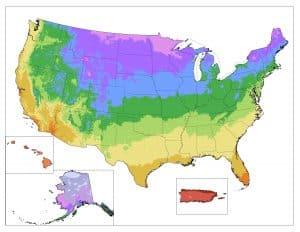 Carte des zones de rusticité de l'USDA
