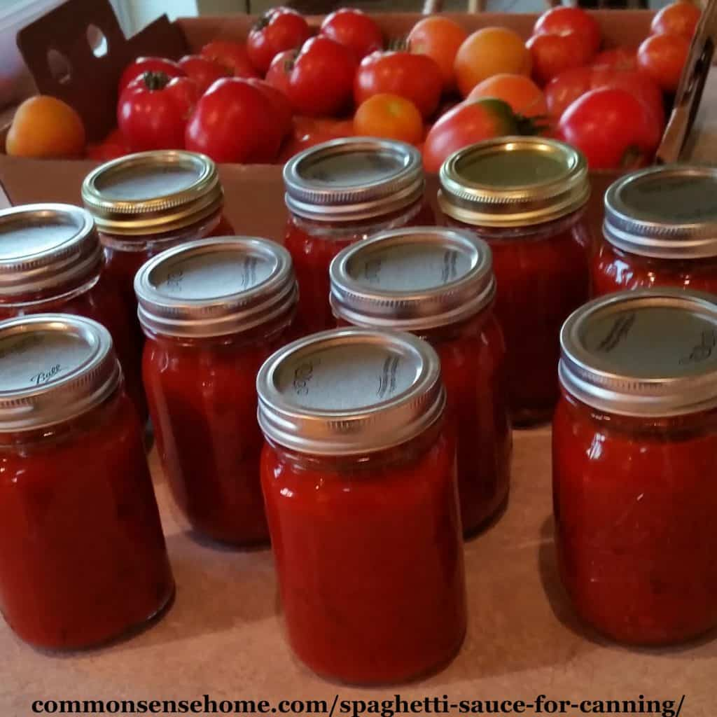 home canned spaghetti sauce in mason jars with tomatoes in background