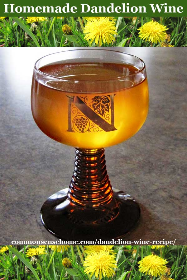 glass of easy homemade dandelion wine with dandelion flowers at top and bottom of photo