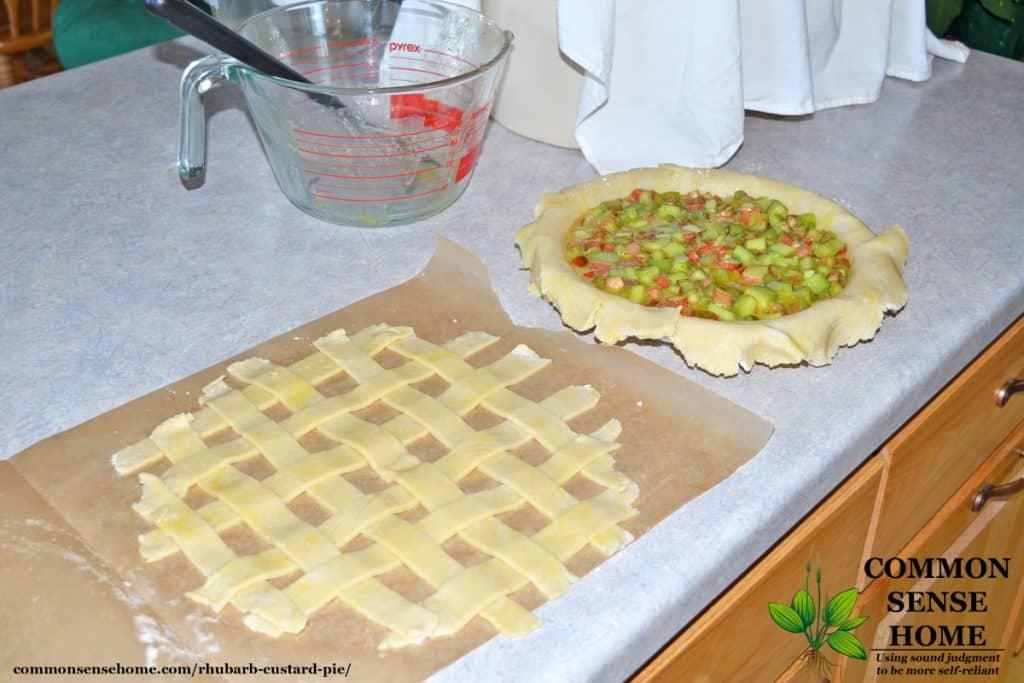 Rhubarb custard pie recipe with lattice pie crust on left and custard pie filling in pie plate on right
