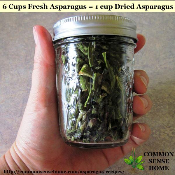 Dehydrated asparagus in jar