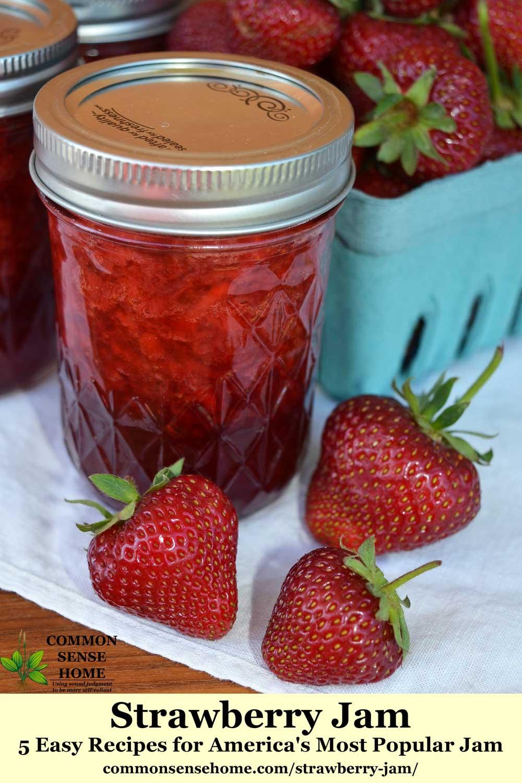 jar of strawberry jam and strawberries